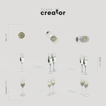 Creatore di scena di natale di angoli di varietà di bicchieri di champagne