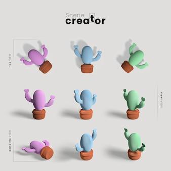 Creatore di scene con collezione di cactus
