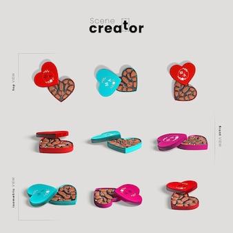 Creatore di scene con scatola a forma di cuore con cioccolato