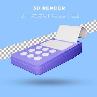 Credit- en debetkaart betaalterminal 3d-rendering geïsoleerd
