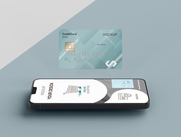 Creditcard mock-up met mobiel