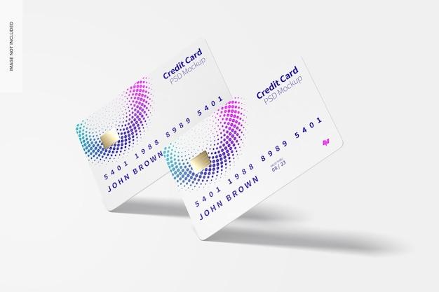 Creditcards mockup, falling