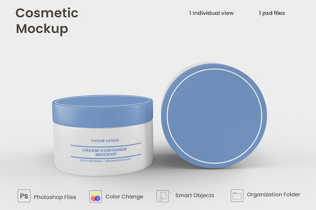 Crème container mockup ontwerp