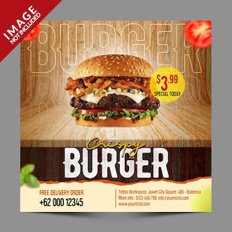 Crispy burger social media promotie sjabloon