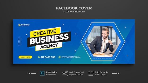 Cronología de promoción de marketing de negocios digitales plantilla de portada de facebook y redes sociales