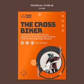 Crossmotor advertentie poster sjabloon