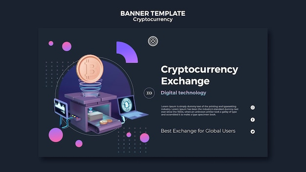Cryptocurrency-ontwerpsjabloon van banner