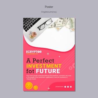 Cryptocurrency-ontwerpsjabloon van poster