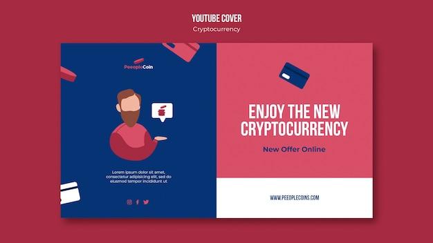 Cryptocurrency-ontwerpsjabloon van youtube-omslag