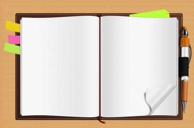 Cuaderno escolar con notas de colores
