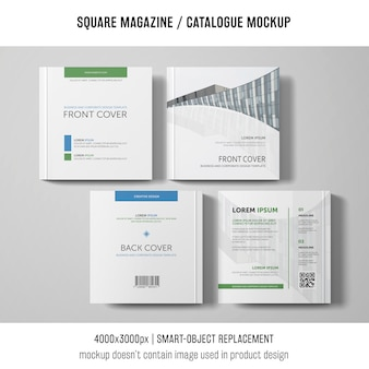 Cuatro maquetas cuadradas de revistas o catálogos