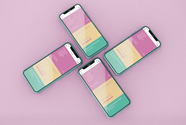 Cuatro maquetas de teléfonos inteligentes