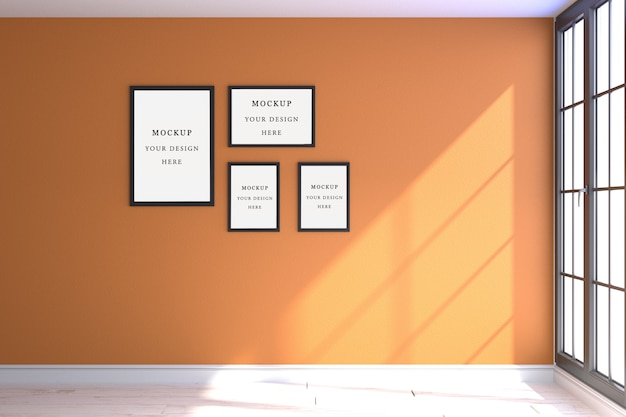 Cuatro marcos de maqueta naranja