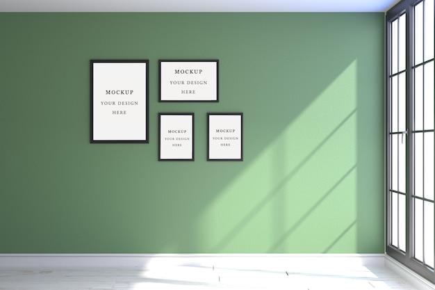 Cuatro marcos de maqueta verde