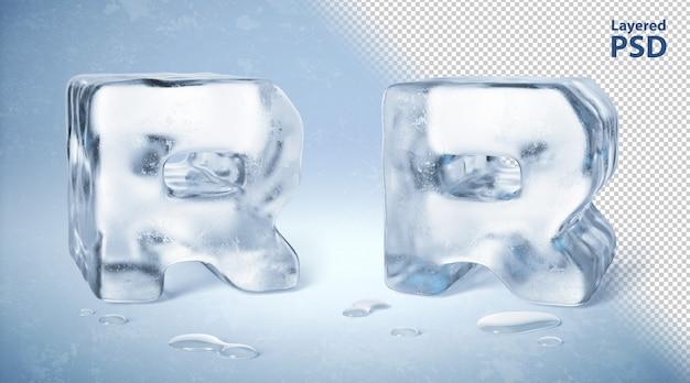 Cubo de hielo 3d rindió la letra r