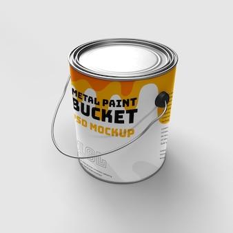 Cubo de pintura de metal realista 3d mokcup vista lateral