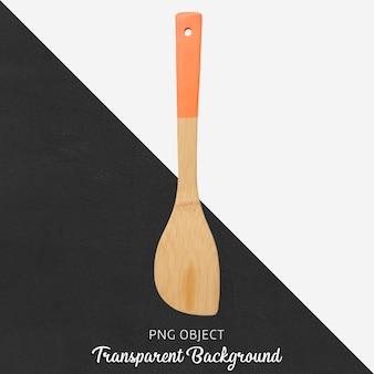 Cucchiaio di legno con manico arancio su sfondo trasparente