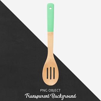 Cucchiaio di legno con manico verde su sfondo trasparente