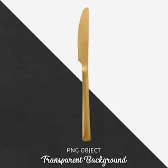 Cuchillo de cena de oro transparente.