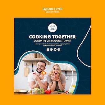 Cucinare a casa concetto di volantino
