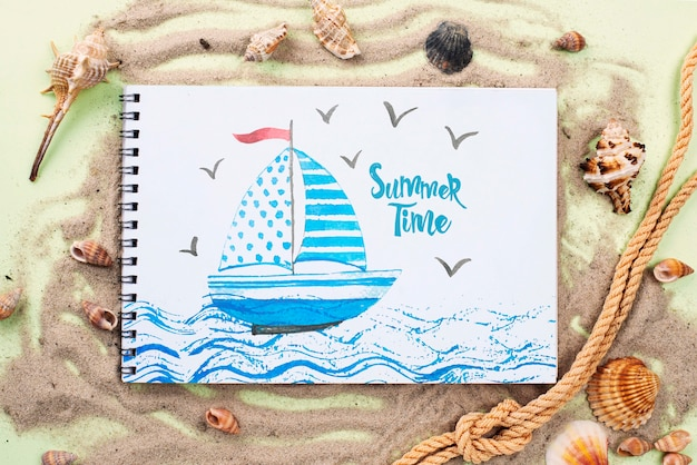 Cuerda de pesca y cuaderno