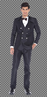 Cuerpo de cuerpo entero 20s caucásico hombre de negocios pelo negro desgaste formal traje y pie de pie, aislado. hombre musculoso de piel bronceada de pie desgaste boda novia novio vestido, fondo blanco.