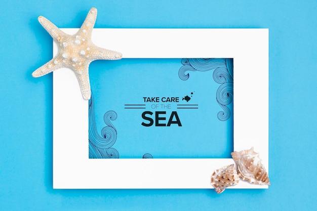 Cuida el océano con marco