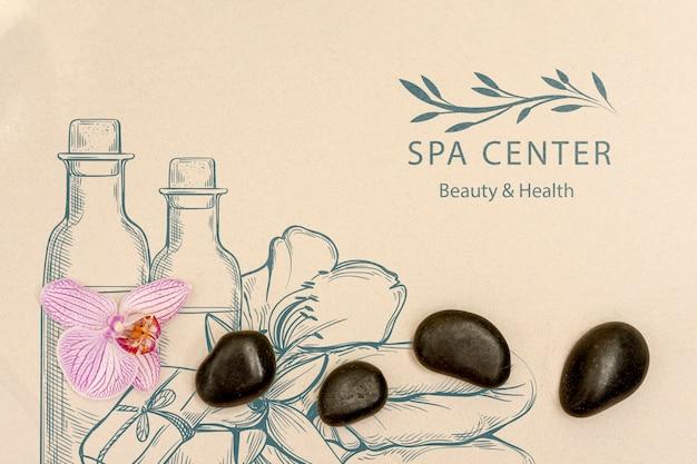 Cuidado del bienestar en el spa con productos de belleza naturales.