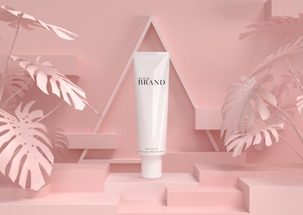 Cuidado de la piel hidratante productos cosméticos premium con fondo abstracto.