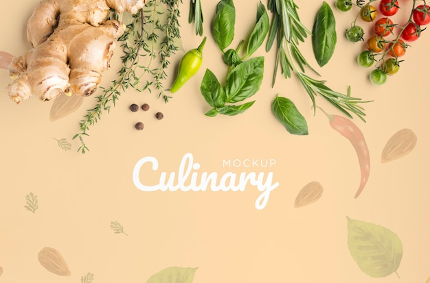 Culinair belettering mock-up met groenten en kruiden