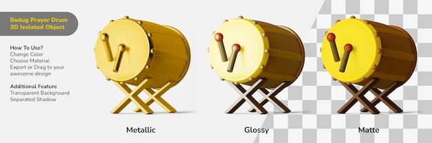 Cultuur bedug drum gebed 3d ontwerp object geïsoleerde scèneschepper