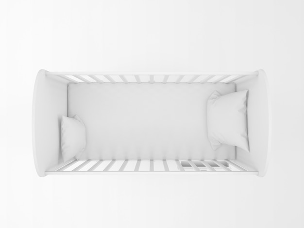Cuna blanca realista aislada en blanco en la vista superior