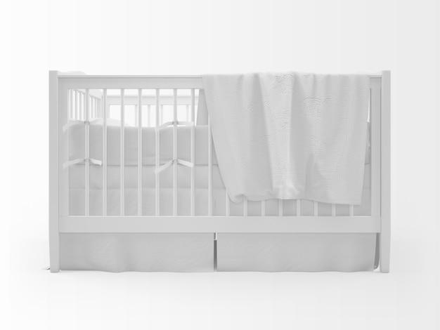 Cuna blanca realista aislada en blanco