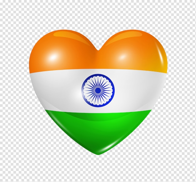 Cuore con bandiera india