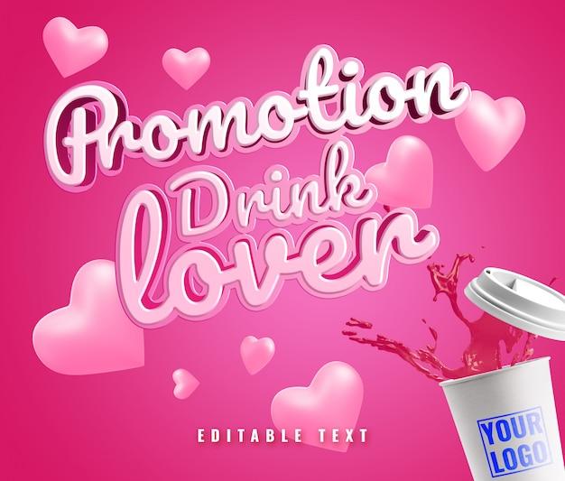 Cup splash hart valentijn promotie promotie mockup tekst effect