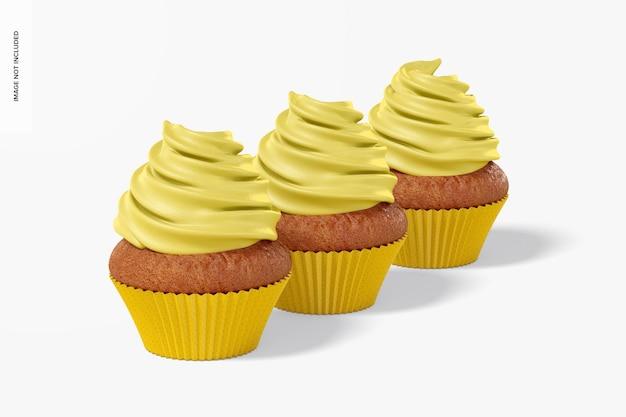 Cupcakes met paper baking cup set mockup