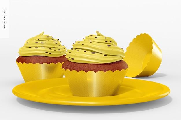 Cupcakes met wrapper mockup, vooraanzicht