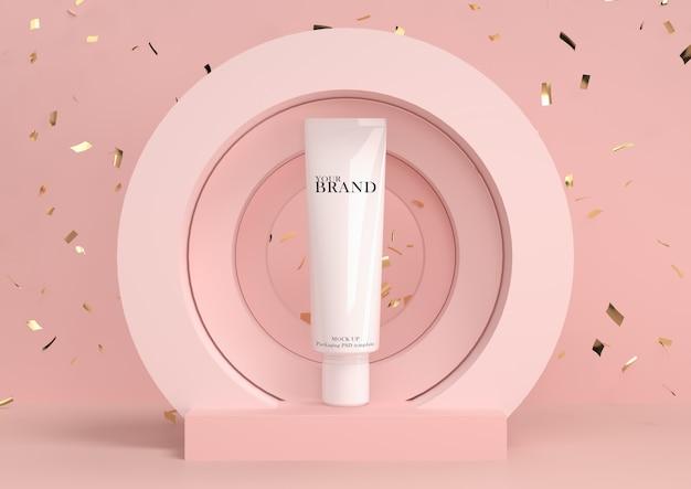 Cura della pelle idratante prodotti premium cosmetici con sfondo astratto.