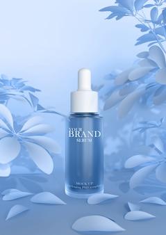 Cura della pelle prodotti cosmetici premium idratanti sulla superficie delle foglie