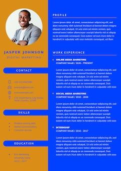 Currículum psd descargable de plantilla de cv editable con estilo para profesionales y puestos de nivel de entrada