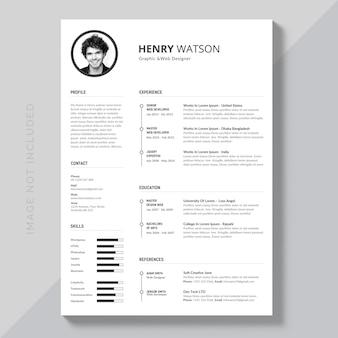 Curriculum vitae blanco y negro