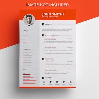 Curriculum vitae naranja con diseño de barra superior