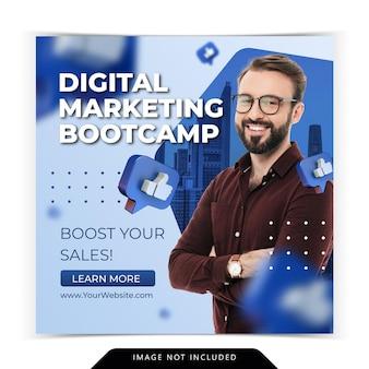 Curso de marketing digital para plantilla de publicación de instagram de redes sociales
