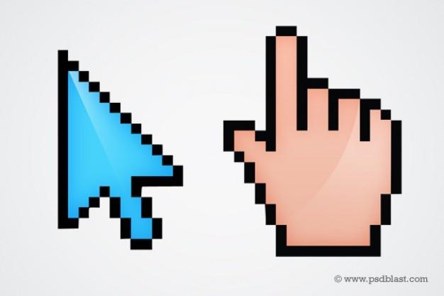 Cursori del mouse di computer con puntatore mano