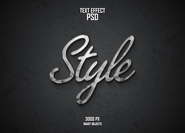 Curved text effect design zilver