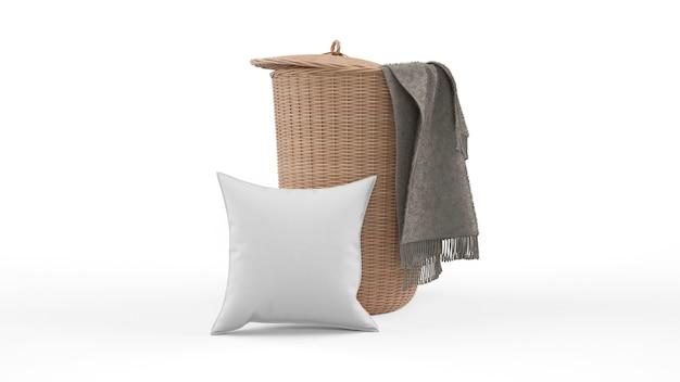 Cuscino in colore grigio e cestino in vimini isolato