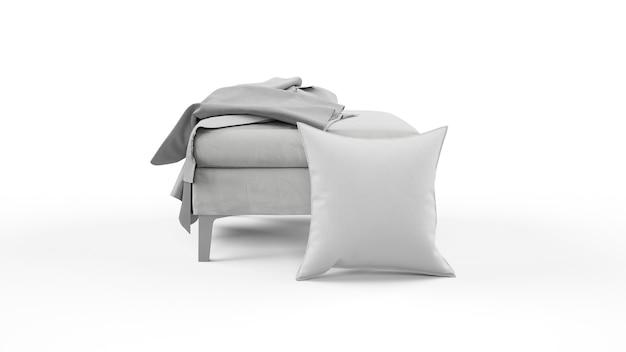 Cuscino in colore grigio e frammenti di stoffa isolati