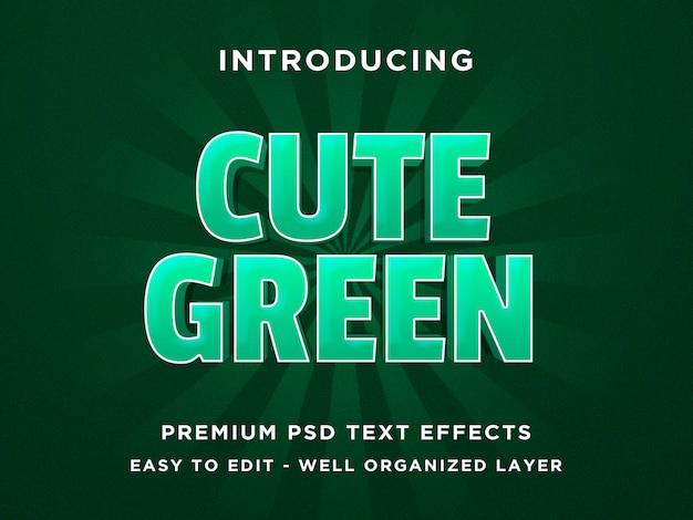 Cute green - 3d-tekststijl font-effect psd-sjablonen