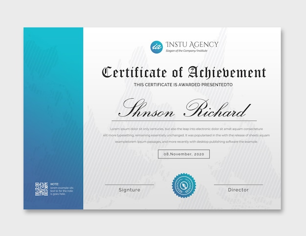 Cyaan certificaat van prestatie-sjabloon
