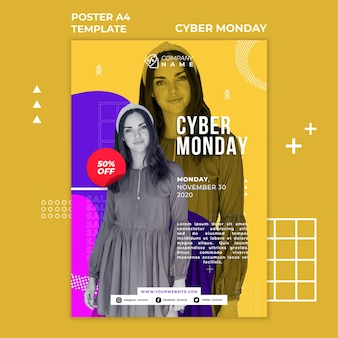 Cyber maandag advertentie sjabloon poster